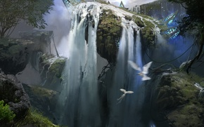 Картинка птицы, природа, фантастика, водопад, арт