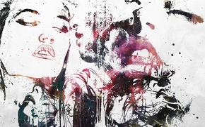 Картинка девушка, страсть, лица, губы, силуэты, Alex Cherry, artwork, love.