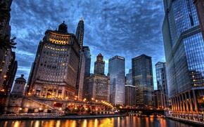 Картинка небо, мост, город, река, пасмурно, здания, дома, небоскребы, вечер, Чикаго, USA, США, Иллинойс, Chicago, Illinois, …