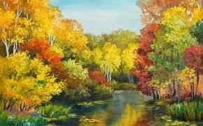Картинка осень, деревья, река, поток, окрас, время года