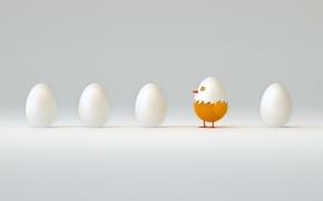 Картинка абстракция, мир, арт, цыпленок, смотрит, ждет, пять, яиц, первый, вылупился, wallpaper., из скорлупы, из яйца, …