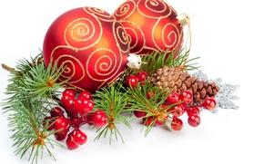 Картинка ягоды, шары, узоры, игрушки, ель, Новый Год, Рождество, красные, белый фон, Christmas, шишки, New Year, ...