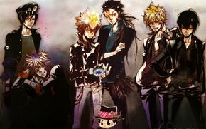 Картинка пламя, перчатки, парни, фуражка, мафия, katekyo hitman reborn, реборн, arcobaleno, byakuran, tsunayoshi sawada, xanxus, mukuro …