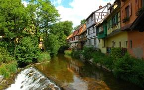 Картинка река, листва, дома, France, Alsace