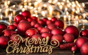 Обои красный, декор, новый год, праздник, шарики