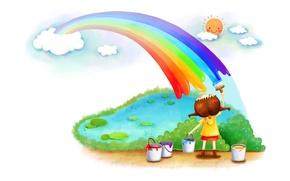Картинка краски, радуга, девочка