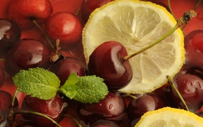 Обои вишни, лимон, фрукты