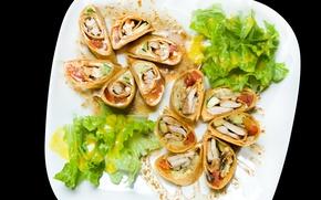Картинка блинчики, курица, салат, огурец, блины, брызги, соус, помидор, начинка