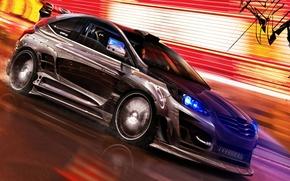 Обои Ford Focus, скорость, XFr, стрит, огни, car, машина, тюнинг