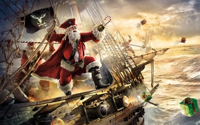 Картинка пираты, фрегат, Santa Claus, Санта-Клаус