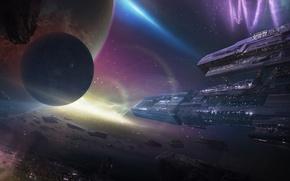 Картинка космос, туманность, планеты, корабли, станция, арт, метеориты