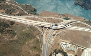 Картинка water, roads, bond, turn, height, junction, exit, above, intersection, crossing, turnoff, interchange, join, joint, crossroads, …