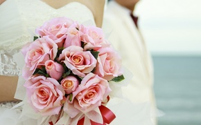 Картинка цветы, розы, букет, свадебный