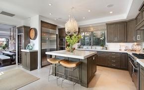 Обои дизайн, кухня, интерьер, гарнитур