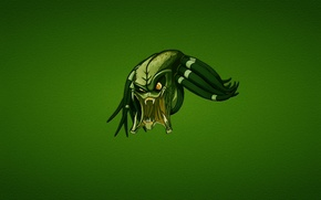 Картинка зеленый, минимализм, хищник, голова, злой, predator