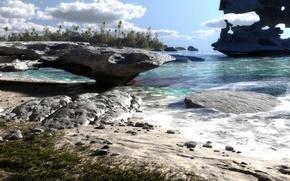 Картинка пальмы, яхта, природа, деревья, песок, море, озеро, пейзаж, скалы, камни