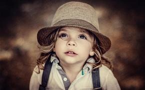 Картинка взгляд, портрет, размытие, шляпа, девочка