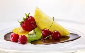 Картинка вишня, малина, апельсин, еда, шоколад, киви, клубника, фрукты, ананас, fruit, orange, chocolate, cherry, strawberry, pineapple, …