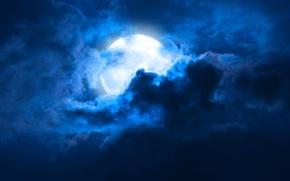 Картинка небо, облака, пейзаж, ночь, Луна, moon, лунный свет, sky, landscape, night, clouds, moonlight, midnight, full ...