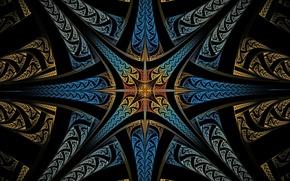Картинка цвет, лучи, свет, симметрия, узор, линии