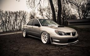 Обои Subaru, серебристая, wrx, impreza, субару, sti, импреза