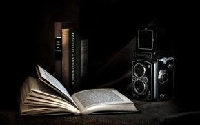 Картинка фон, фотоаппарат, книга