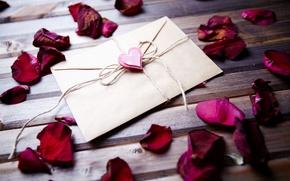 Картинка письмо, фон, widescreen, обои, сердце, роза, лепестки, wallpaper, rose, сердечко, flower, разное, лепестки роз, широкоформатные, …