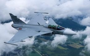 Картинка облака, полет, земля, истребитель, бомбардировщик, многоцелевой, Gripen