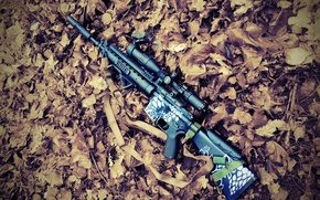 Картинка осень, листья, снайпер, винтовка, rifle, страйкбол, airsoft, m16spr