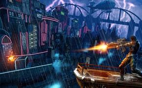 Картинка гроза, дождь, стрельба, мегаполис