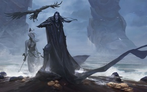 Картинка море, ноги, берег, женщина, бог, гигант, мужчина, ворон, титан