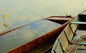 Обои вода, отражение, лодка