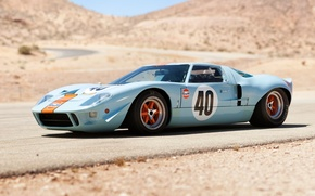 Обои дорога, холмы, Ford, Le Mans, Форд, суперкар, классика, передок, 1968, GT40, Gulf Oil