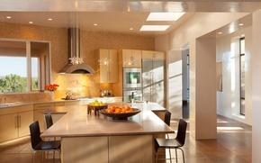 Картинка light, interior, kitchen, design. house