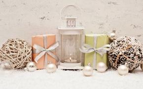 Картинка снег, украшения, шары, свечи, Новый Год, Рождество, подарки, Christmas, balls, New Year, decoration