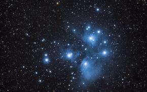 Картинка Плеяды, M45, звёздное скопление, в созвездии Тельца