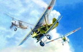Обои самолет, истребитель, арт, советский, одноместный, И-4, самолетом, который, Павлом Сухим, стал, русские крылья, ВВС СССР., ...