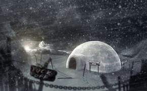 Картинка лед, зима, ночь, иглу, Ледяной дом