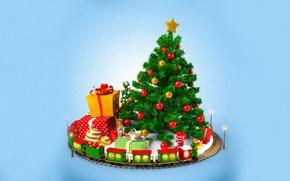 Картинка украшения, игрушки, елка, куклы, мячи, Поезд, подарки, Новый год, new year, balls, toys, train, merry …