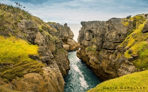 Картинка пейзаж, природа, река, океан, скалы, New Zealand, David Capellari