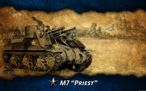 Картинка арт, танк, США, Америка, танки, WoT, сау, World of Tanks, M7 Priest