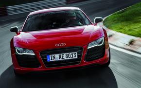 Картинка Audi, Красный, Ауди, Лого, Капот, Фары, спорткар, Передок, R 8