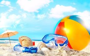 Обои мяч, ракушка, отдых, трубка, пляж, отпуск, песок, маска