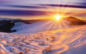 Картинка зима, солнце, снег, горы, рассвет