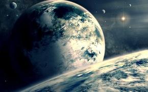 Картинка космос, облака, звезда, планеты, спутник, атмосфера