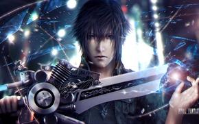 Картинка лицо, меч, парень, art, Final Fantasy XV, Noctis Lucis Caelum, noctis