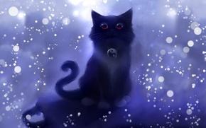Обои кот, круги, рисунок, арт, искры, символ, инь-ян, котшка, style apofiss, Roydz