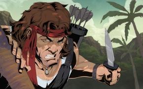 Картинка Нож, Солдат, Стрелы, Рэмбо, Rambo