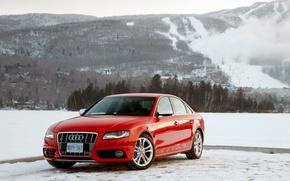 Картинка зима, горы, Ауди, красная, Audi S4