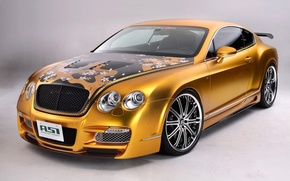 Обои тюнинг, Bentley, Continental, золотой